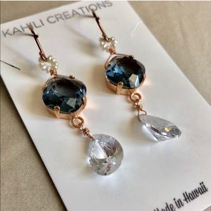 14k Rose Gold Swarovski Crystal Earrings